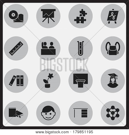 Set Of 16 Editable University Icons. Includes Symbols Such As Student, Molecule, Bookshelf And More. Can Be Used For Web, Mobile, UI And Infographic Design.
