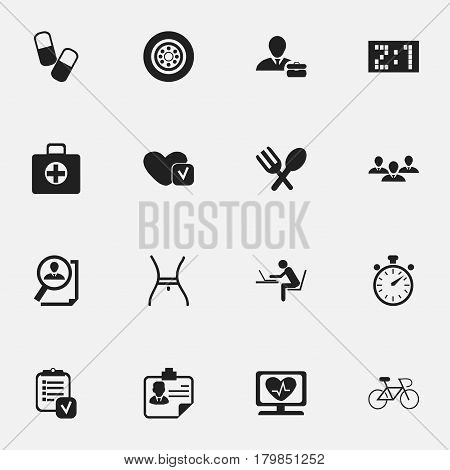 Set Of 16 Editable Complicated Icons. Includes Symbols Such As Drug, Chronometer, Questionnaire And More. Can Be Used For Web, Mobile, UI And Infographic Design.