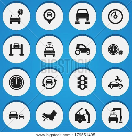 Set Of 16 Editable Transport Icons. Includes Symbols Such As Speed Display, Vehicle Wash, Treadle And More. Can Be Used For Web, Mobile, UI And Infographic Design.