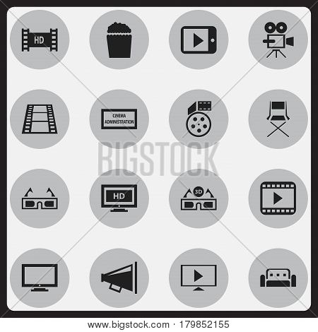 Set Of 16 Editable Cinema Icons. Includes Symbols Such As Hd Screen, Chair, Film Glasses And More. Can Be Used For Web, Mobile, UI And Infographic Design.