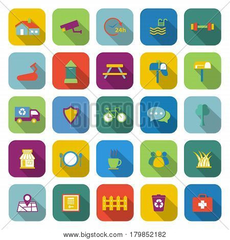 Village color icons with long shadow, stock vector