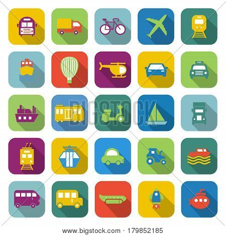 Transportation color icons with long shadow, stock vector