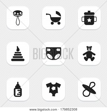 Set Of 9 Editable Child Icons. Includes Symbols Such As Teddy, Nursing Bottle, Tower And More. Can Be Used For Web, Mobile, UI And Infographic Design.