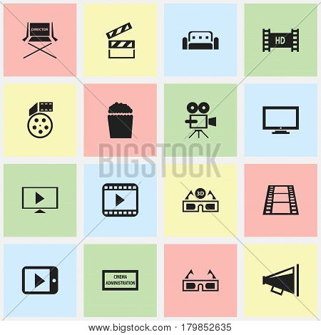 Set Of 16 Editable Cinema Icons. Includes Symbols Such As Theater Agency, Film Glasses, Hd Tape And More. Can Be Used For Web, Mobile, UI And Infographic Design.