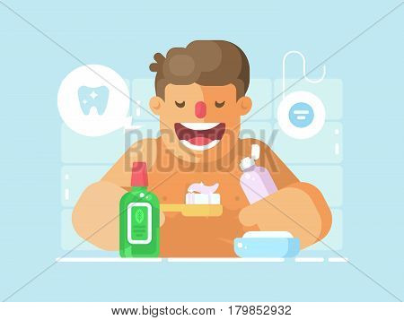 Young guy brushing teeth with whitening paste. Personal hygiene of mouth . Vector illustration