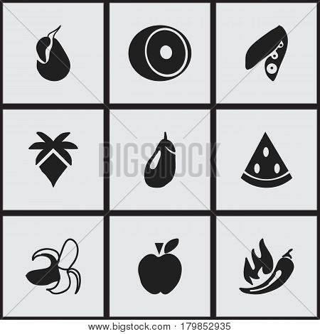 Set Of 9 Editable Fruits Icons. Includes Symbols Such As Avocado, Paprika, Palm And More. Can Be Used For Web, Mobile, UI And Infographic Design.
