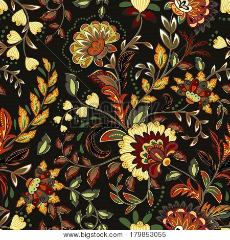 Colorful seamless with eastern patterns on dark background.
