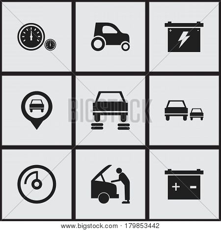 Set Of 9 Editable Car Icons. Includes Symbols Such As Car Fixing, Speed Display, Vehicle Car And More. Can Be Used For Web, Mobile, UI And Infographic Design.