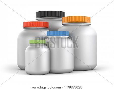 Jars with colored lids. 3d illustration