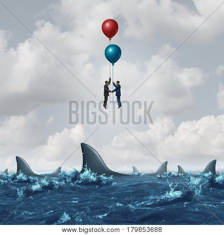 Business meeting risk as two businessmen overcome the dangerous sharks in the water by using balloons to rise above the obstacle as a corporate metaphor for finding partnership solutions with 3D illustration elements.