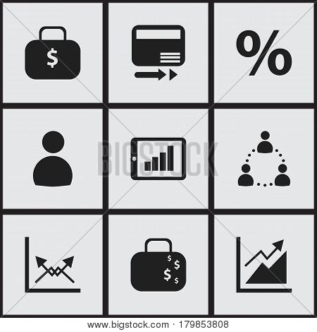 Set Of 9 Editable Logical Icons. Includes Symbols Such As Money Bag, User, Bar Chart And More. Can Be Used For Web, Mobile, UI And Infographic Design.