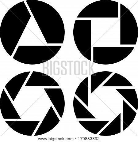 Aperture, Camera Lens Symbol, Pictogram In 4 Variation For Photography Concept