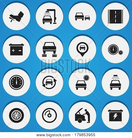 Set Of 16 Editable Car Icons. Includes Symbols Such As Car Lave, Treadle, Battery And More. Can Be Used For Web, Mobile, UI And Infographic Design.