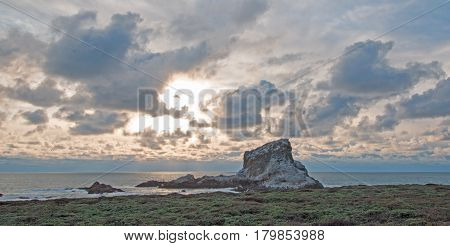 Piedras Blancas Point At Sunset On The Central California Coast North Of San Simeon California Usa