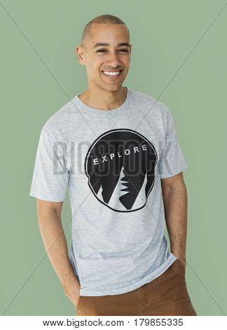 A guy with a explore t-shirt