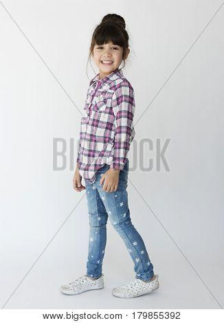 A girl is in studio shoot.