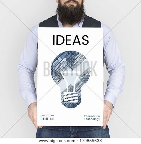 Man holding banner of creative ideas digital technology light bulb