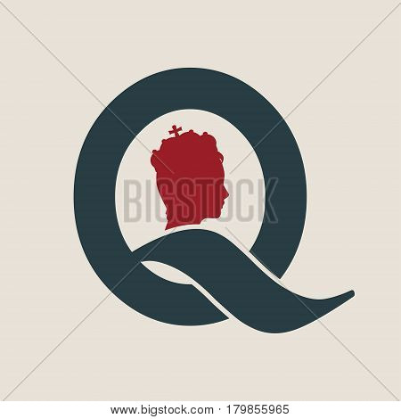 Vintage queen silhouette. Medieval queen profile. Elegant silhouette of a female head. Vector Illustration. Short hair. . Fashion branding emblem. Royal emblem with Q letter