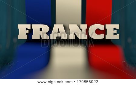 France flag design concept. Flag made from curved stripes. Country name. Image relative to travel and politic themes. 3D rendering
