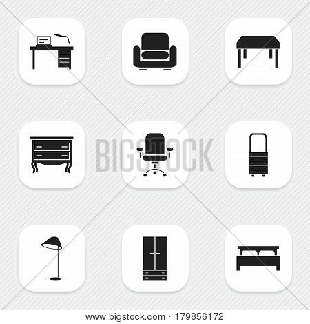 Set Of 9 Editable Furniture Icons. Includes Symbols Such As Cabinet, Wooden Table, Wall Mirror And More. Can Be Used For Web, Mobile, UI And Infographic Design.