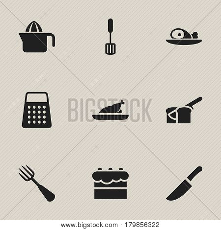 Set Of 9 Editable Meal Icons. Includes Symbols Such As Silverware, Fried Chicken, Meat And More. Can Be Used For Web, Mobile, UI And Infographic Design.