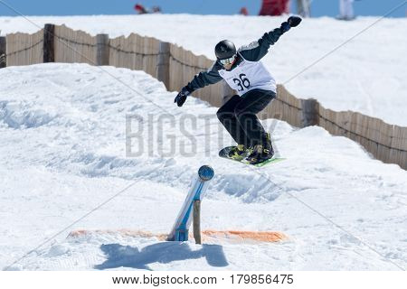 Pedro Sezulfe During The Snowboard National Championships