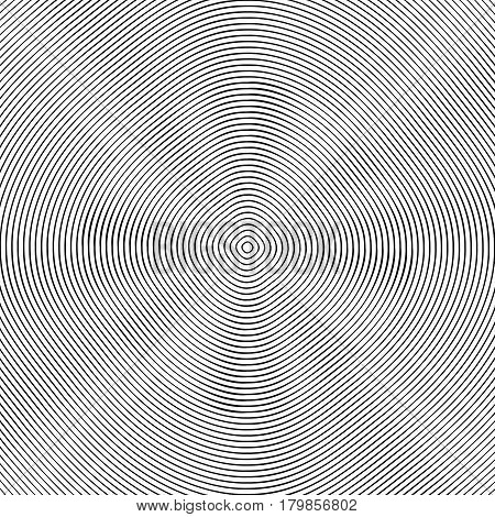 Concentric Rings, Circles Circular Geometric Pattern. Abstract Monochrome Texture / Pattern
