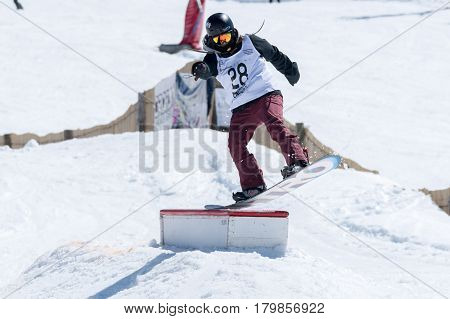 Miguel Brito During The Snowboard National Championships