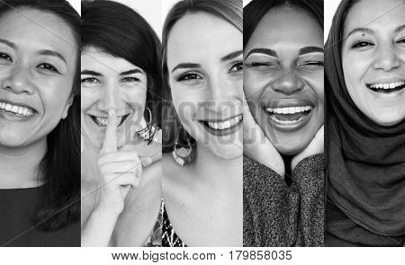 Diversity women smiling happiness expression collection collage