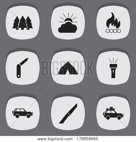 Set Of 9 Editable Camping Icons. Includes Symbols Such As Voyage Car, Clasp-Knife, Sunrise And More. Can Be Used For Web, Mobile, UI And Infographic Design.