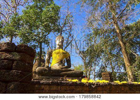 Wat Khao Phanom Phloeng ancient stature buddha in Sisatchanalai Historical Park Sukhothai province Thailand