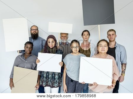 Diverse Group of People with Protest Sign