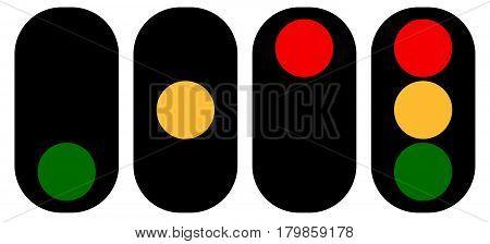 Flat Semaphore, Traffic Light Icons, Symbols. Transportation, Travel Concepts