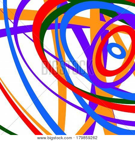 Circular Spirally Abstract Pattern With Colorful Ellipses. Random Circles