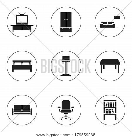Set Of 9 Editable Furniture Icons. Includes Symbols Such As Bearings, Bookrack, Tv And More. Can Be Used For Web, Mobile, UI And Infographic Design.