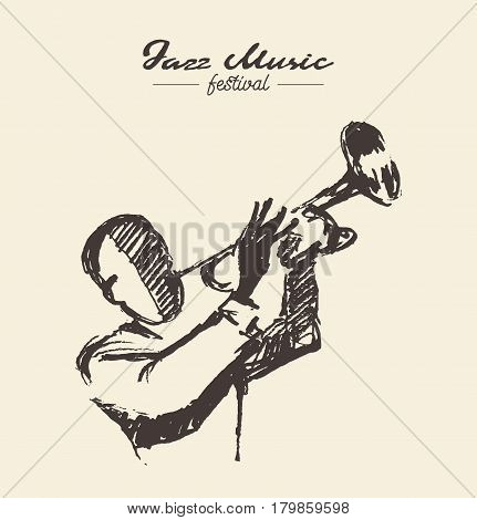Man playing the trumpet, vintage hand drawn illustration