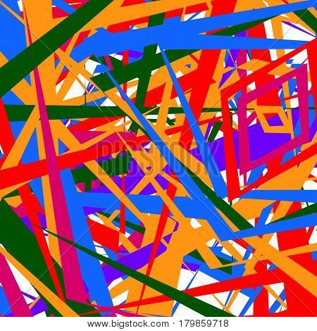 Colorful Random Edgy Pattern. Random Overlapping Shapes Forming Rough Texture