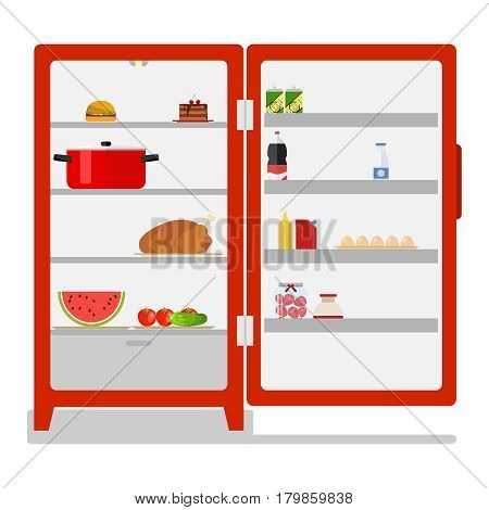 Outdoor fridge with food. Flat design vector illustration vector.