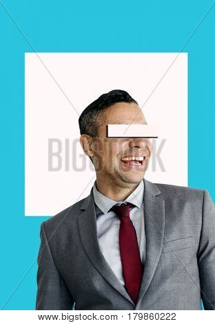 Businessman Eye Covered Copy Space Concept