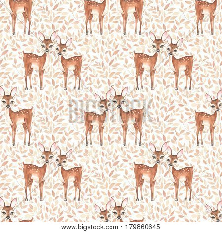 Watercolor floral pattern with fawns. Floral background