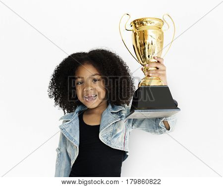 Little Girl Holding Trophy Happy