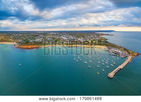 Beautiful Aerial Panorama Of Mornington Peninsula Coastline And Mornington Pier At Sunset. Melbourne