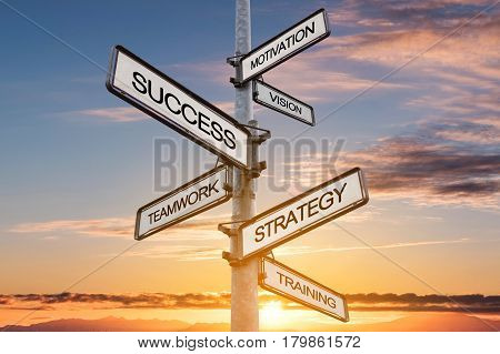 Success concept, the way to success on signpost with sunset sky backgrounds