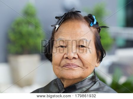 Senior Woman With Hairpin