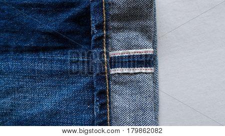 Selvedge Denim Closeups, Blue Jeans on Fabric