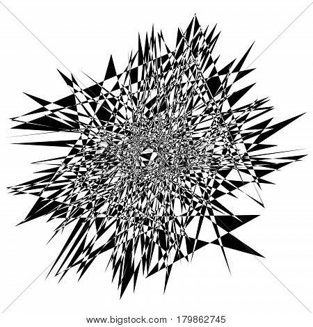 Random Edgy Abstract Illustration With Random Scattered Geometric Shapes / Lines. Black And White Ab