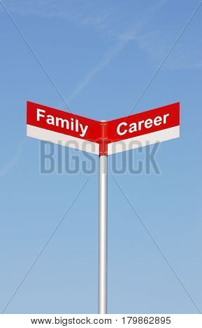 road signpost with family and career text