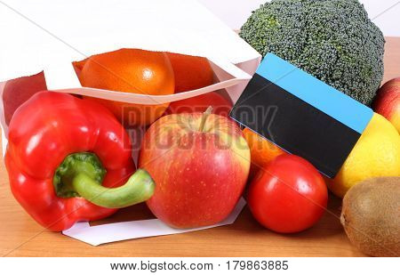 Contactless Credit Card, Paper Shopping Bag With Fruits And Vegetables, Cashless Paying For Shopping