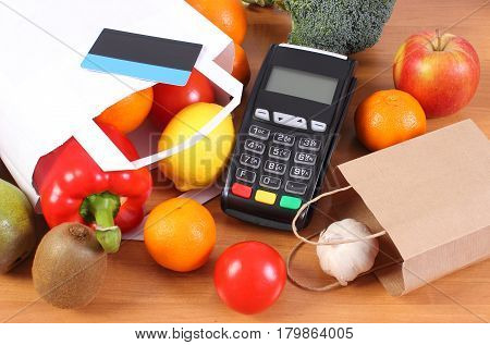Payment Terminal, Contactless Credit Card, Paper Shopping Bag With Fruits And Vegetables