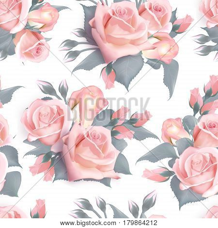 English roses seamless. Pink vintage rose seamles pattern. Vector. Quality watercolor imitation. Not trace.